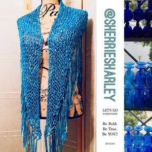 Hand Crocheted Chameleon Wrap / Scarf